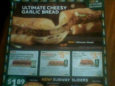 2 Subway  sheets, 12 coupons on ea., expire Dec. 29th
