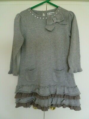 Girls Marks & Spencer Autograph Long Sleeved Silver Dress Age 2-3 years