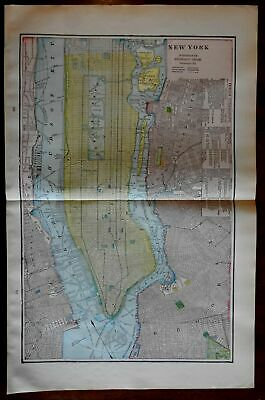 New York City plan 1902 great color map endless detail