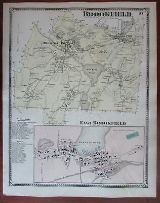 Brookfield and East Brookfield 1870 Worcester Co. Mass. detailed map