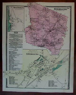 Sterling West Sterling 1870 Worcester Co. Mass. detailed map
