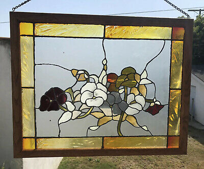 Fine Stained Glass Framed Art Flowers Bouquet Handmade Art Colorful NICE