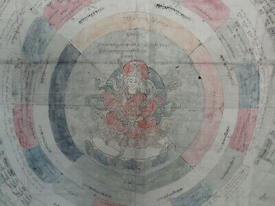 Antique Tibet Mongolian Buddhist Hand Drawn Astrological Wheel On Paper