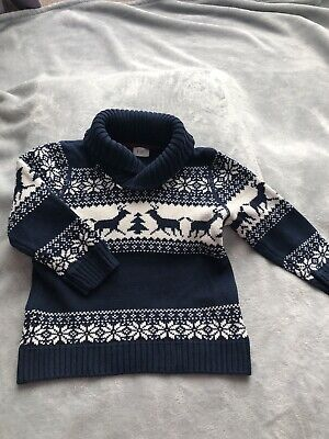 Boys Christmas Jumper Age 2-3 Years Navy Stags Immaculate
