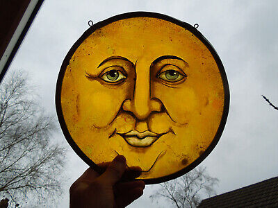 Stained Glass Fragment Moon Face Lunar Magic Witchcraft Medieval Victorian