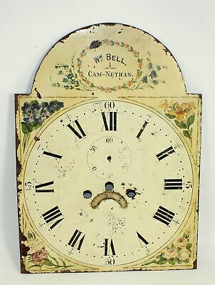 TALL CASE CLOCK PAINTED METAL DIAL - ANTIQUE Wm. BELL CAM-NETHAN - SP294