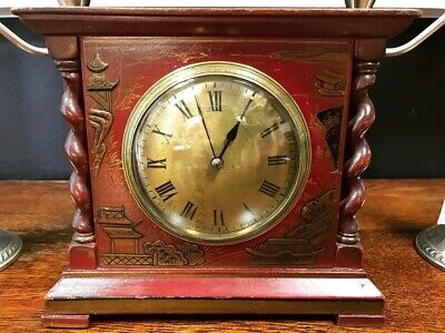 Antique French Chinoiserie Mantel Clock, Dark Red Lacquer, Serviced.