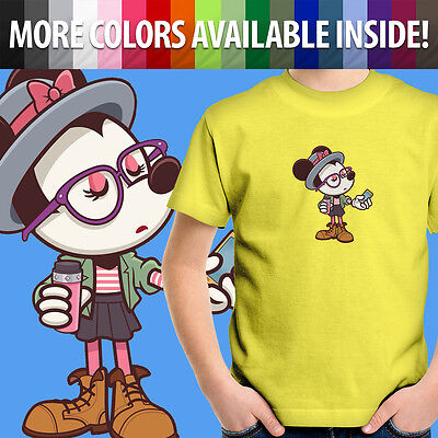 Hipster Disney Minnie Mouse Cute Disneyland Toddler Kids Girl Tee Youth T-Shirt