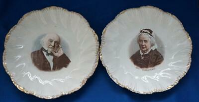 Pair of Antique Political Commemorative Plates Prime Minister Gladstone and Wife
