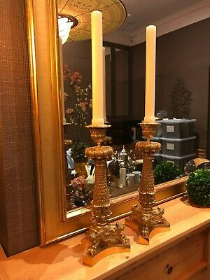 Fine Pair of 19th Century French  Gilt Bronze Candlesticks STUNNING!