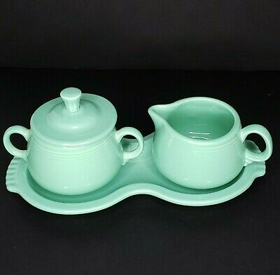 Sea Mist Green FIESTA  Fiestaware Creamer and Sugar Bowl Set Figure 8 Tray