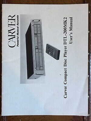 Carver Model DTL-200MK2 CD Player User's Manual