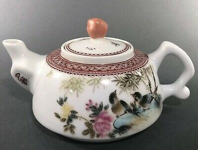 Antique Famille Rose Chinese Porcelain Teapot by Yu Hanqing Qing