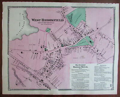 West Brookfield 1870 Worcester Co. Mass. detailed map