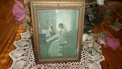 Vtg Antique Wood Man & Woman by Piano Picture Frame Style  Mirror Jewelry Box
