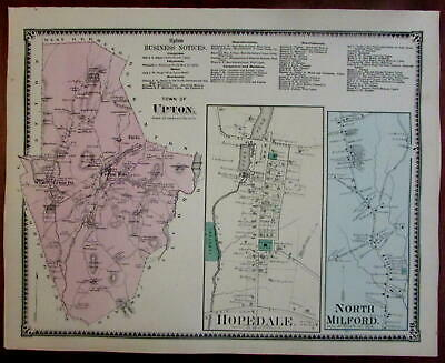 Upton Hopedale North Milford 1870 Worcester Co. Mass. detailed map