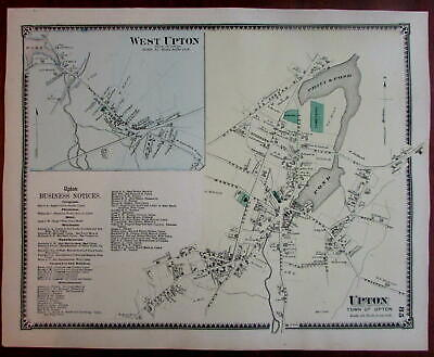 Upton 1870 Worcester Co. Mass. detailed map