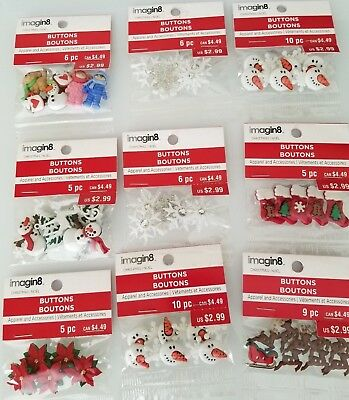 New Christmas Crafts Buttons Snowflake Snowman for hair bows (Lot #12)