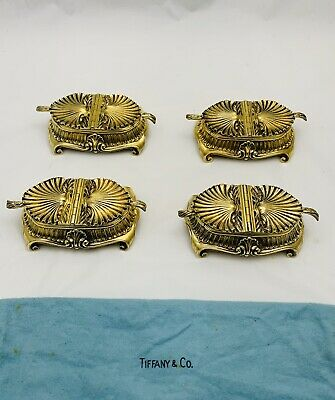 Rare Authentic Tiffany & Co. Sterling Silver Master Salt Cellars Set Of Four