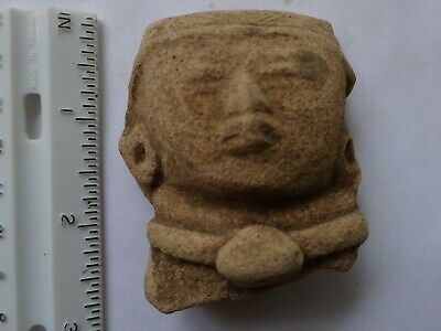 Pre-Columbian Mayan Artifact - head (# 009) 300-900 AD