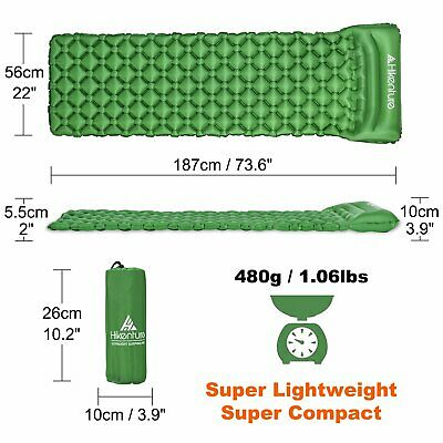 Ultralight Inflatable Sleeping Pad Mat Air Mattress with Pillow Camping Travel