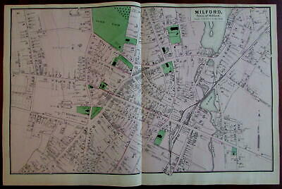 Town of Milford 1870 Worcester Co. Mass. detailed map