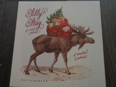 Pottery barn SILLY STAG SALAD PLATES-SET OF 4-NEW IN ORIGINAL BOX