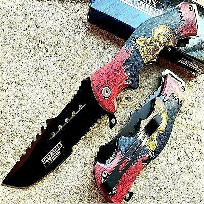 "8.5"" TACTICAL Spring Assisted Open Pocket Knife FOLDING Blade Motorcycle Handle"