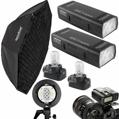 2x Godox AD200 200W TTL HSS Strobe Flash + 400W Head Bracket + Trigger + Softbox