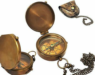 Antique Brass Compass Nautical Pocket Backpacking Compass Leather Case