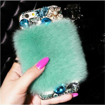 Bling Rhinestone Diamond Crystal Warm rabbit hair SOFT Case Cover For Cell Phone