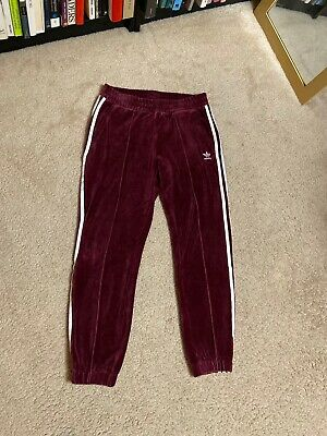 Women's Adidas Track Suit Pants VELVET small S red maroon striped stripes