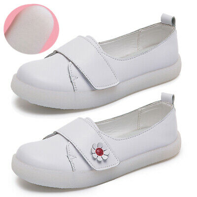 Womens Ladies Loafers Brogue White Nurse Shoes Slip On Flats Work Office Comfy