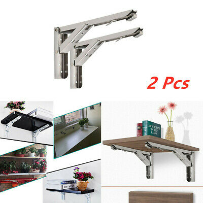 2x Folding Shelf Brackets Heavy Duty Stainless Steel Collapsible Shelf Bracket