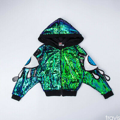 Girls Street Dance Wear Performance Costumes Sequins Hip Hop Clothes Coat Jacket