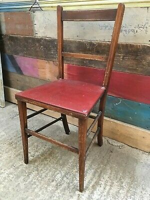 """33"""" By 14 1/8"""" Reclaimed Antique Old Mahogany Inlay Single Bedroom Chair"""