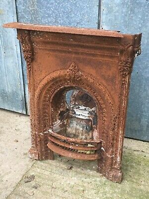 2'7 X 3'5 Reclaimed Victorian Cast Iron Fireplace Grate Damaged Repair