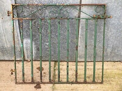 """4'6"""" Salvaged Old Steel Solid Square Bar Garden Gate Painted Green"""