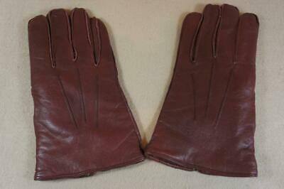 Vintage ex shop stock Morley men's brown soft leather gloves size 9½  (P)