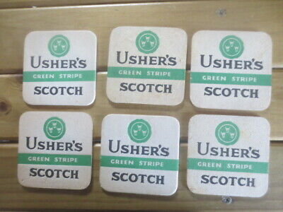 """6 x USHER,S """" green stripe """" 1950,s Issued SCOTCH WHISKY Coasters Collectable"""
