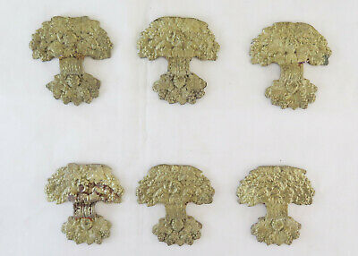 6 Fret of Bronze Golden Decoration Silhouette Bouquet Flowers Palm Vintage CH29