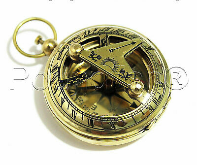 Solid Brass Push Button Direction Sundial Compass < Pocket Sundial Compass