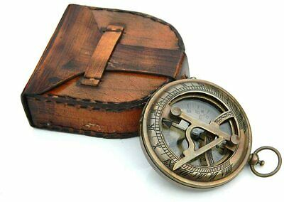 Brass Sundial Compass W/Leather Case & Chain Push Open Compass father gift