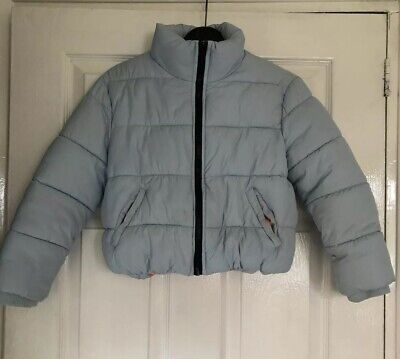 Girls River Island Blue Coat Age 7 8 Funnel Neck Style 99p Lovely Condition