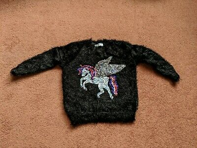 Girls Unicorn Sequin Jumper By M&S Age 4-5 Years