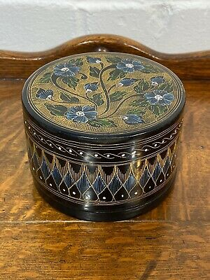 Chinese Black Lacquered Hand Painted Antique Trinket Container.