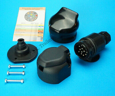 13 Pin Towing Plug & Socket with Cover & Seal Trailer & Caravan