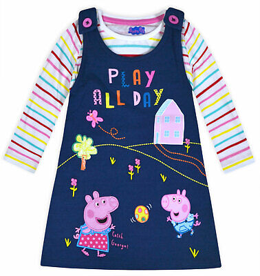 Girls Peppa Pig Set Kids New Cotton Top and Dress 2 Piece Set Ages 1 - 5 Years