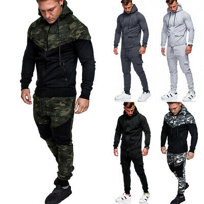 Mens Full Tracksuit Hooded Jogging Bottms Joggers Casual Sports Gym Sweat Suit