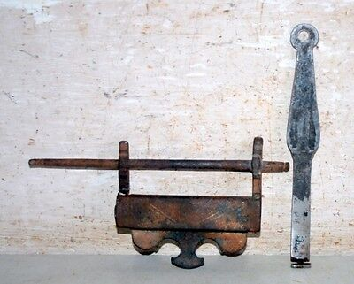 Old Indian Antique Iron Hand Carved Padlock With  Key Rare PadLock & Key 1800's